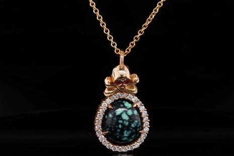 King Baby Diamond, Turquoise 18K Pendant W/14K Chain