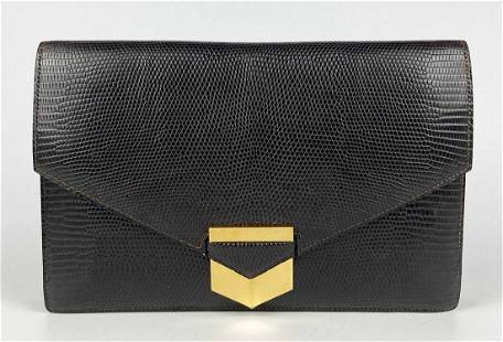 Hermes Vintage Brown Lizard Envelope Clutch W/Box