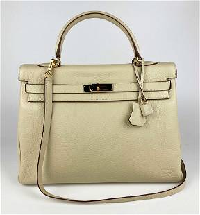 Hermes Parchemin Taurilon Clemence Leather Kelly 35