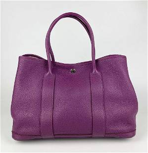 Hermes Purple Clemence Leather Garden Party 35 Tote