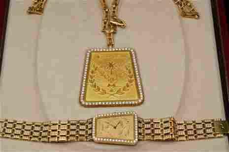 Piaget 12.40ctw Diamond 18K Hijri Watch & Necklace
