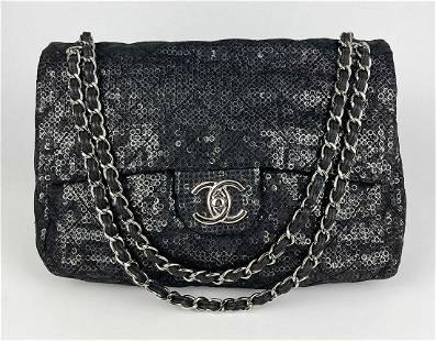 Chanel Hidden Sequins Mesh Jumbo Classic Flap Bag