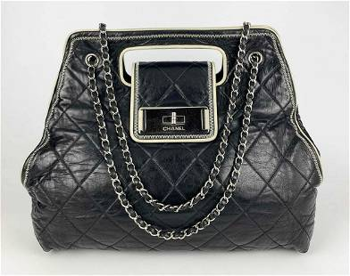 Chanel Black Leather East West Cut Out Handle Tote