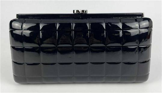 Chanel Quilted Black Patent Leather Evening Clutch