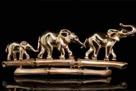 Cartier 1990s 18K Elephant Family Brooch