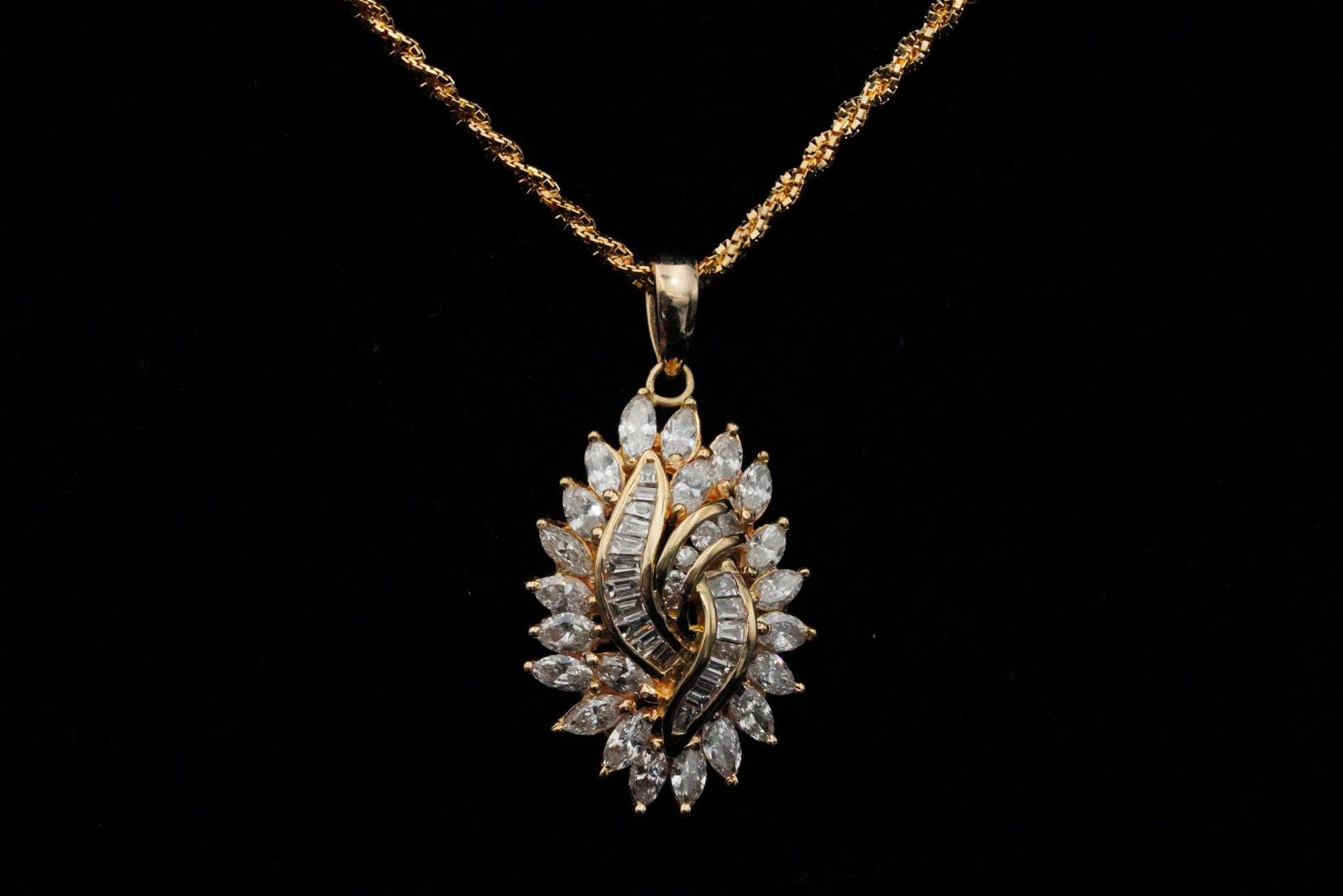 """2.90ctw SI1-SI2/G-H Diamond and 18K 16"""" Necklace"""