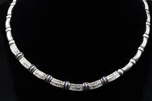 Picchiotti 8.87ctw Diamond & Blue Sapphire Necklace