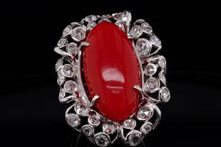 25mm Red Coral, 2.25ctw Diamond & Platinum Ring