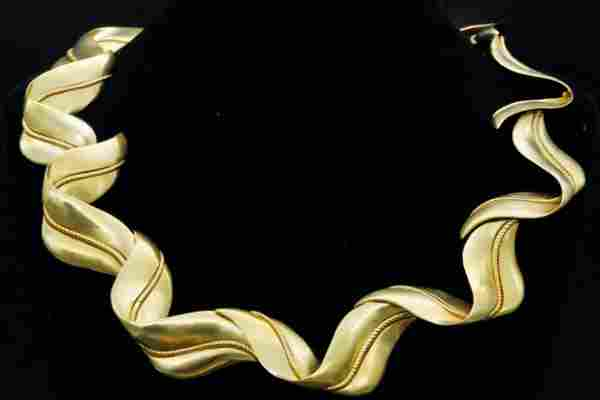 Tiffany & Co. 1987 18K Yellow Gold Ribbon Necklace