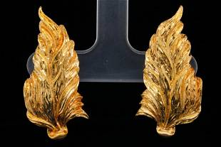 Buccellati Solid 18K Yellow Gold Leaf Ear Clips