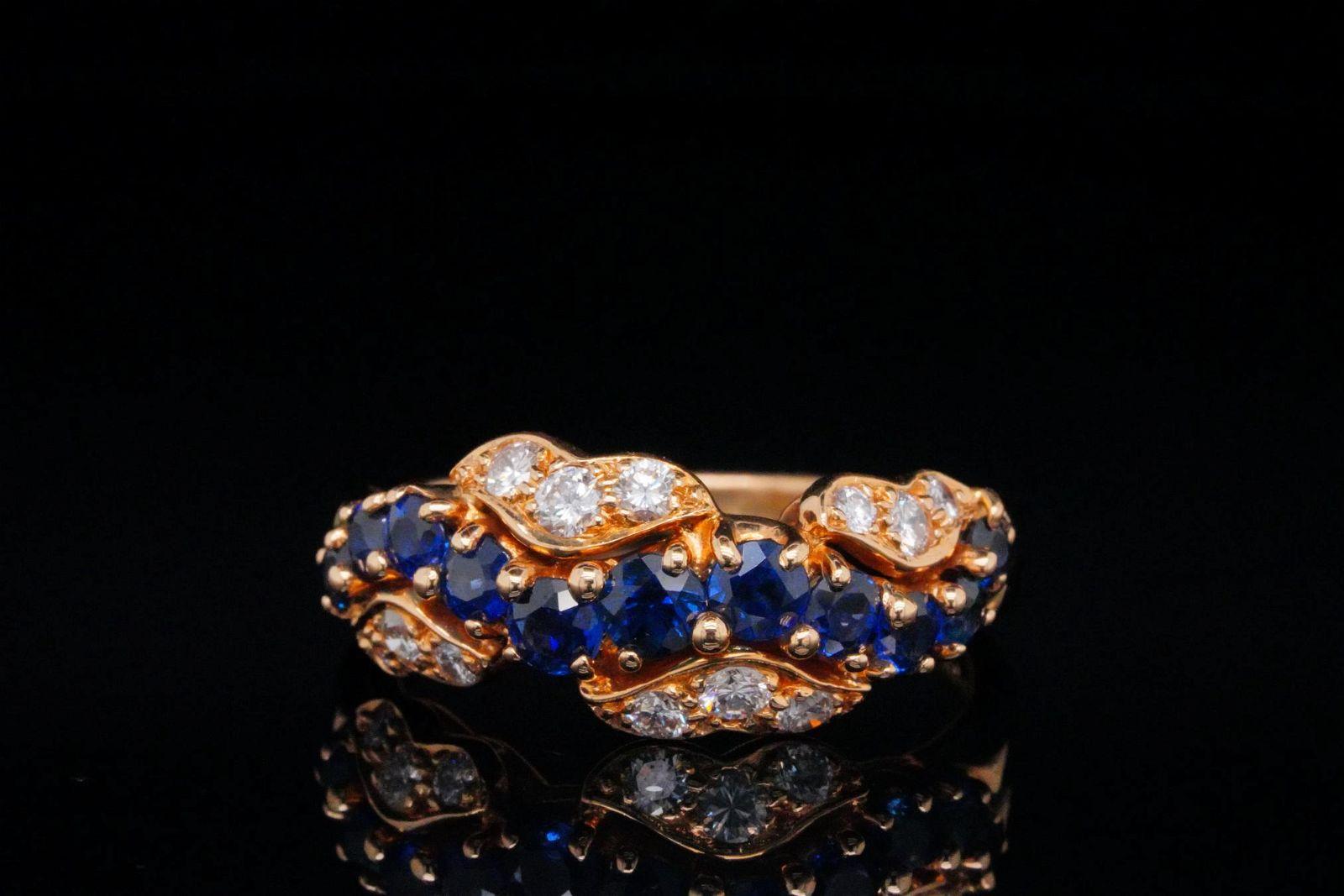 Oscar Heyman 0.50ctw Blue Sapphire, Diamond 18K Ring