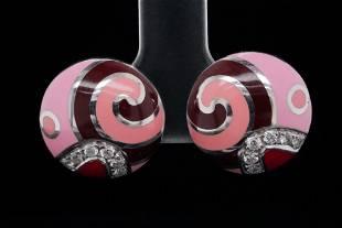 Roberto Coin 0.25ctw Diamond, Enamel & 18K Earrings