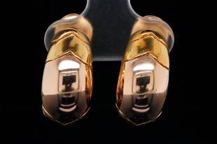 "Bvlgari Tronchetto 18K Yellow Gold 0.75"" Ear Clips"