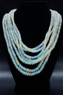 580.00ctw Opal Bead 7-Strand Necklace W/14K Clasp