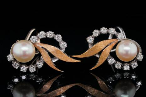 7.5mm Pearl, 0.60ctw Diamond and 14K Ear Clips