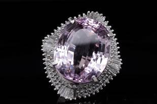 36.60ct Kunzite, 2.15ctw Diamond Platinum Ring