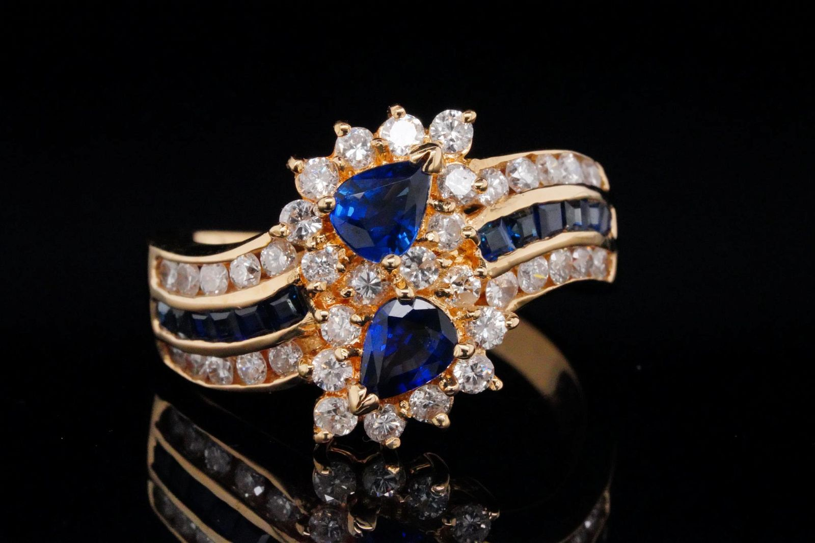 1.25ctw Blue Sapphire, 0.90ctw Diamond and 18K Ring