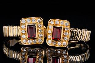 1.00ctw Garnet, 0.50ctw Diamond and 18K Ear Clips
