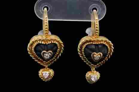 Stambolian 0.20ctw Diamond, Onyx and 18K Earrings