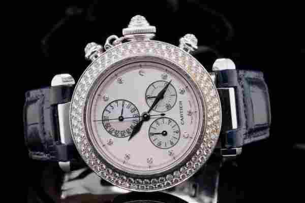 Cartier Pasha Chronograph 35mm Diamond and 18K Watch