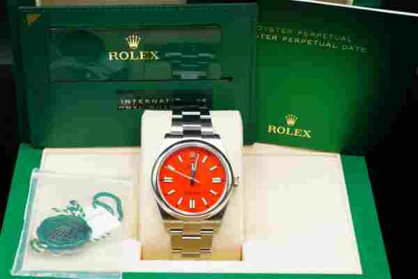 Rolex 2020 Oyster Perpetual 41mm Watch W/Coral Dial