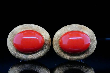 Henry Dunay 20mm Coral and 18K Yellow Gold Ear Clips