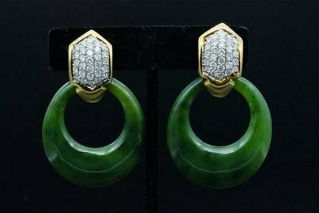 Salvini 3.00ctw Diamond, Nephrite and 18K Ear Clips