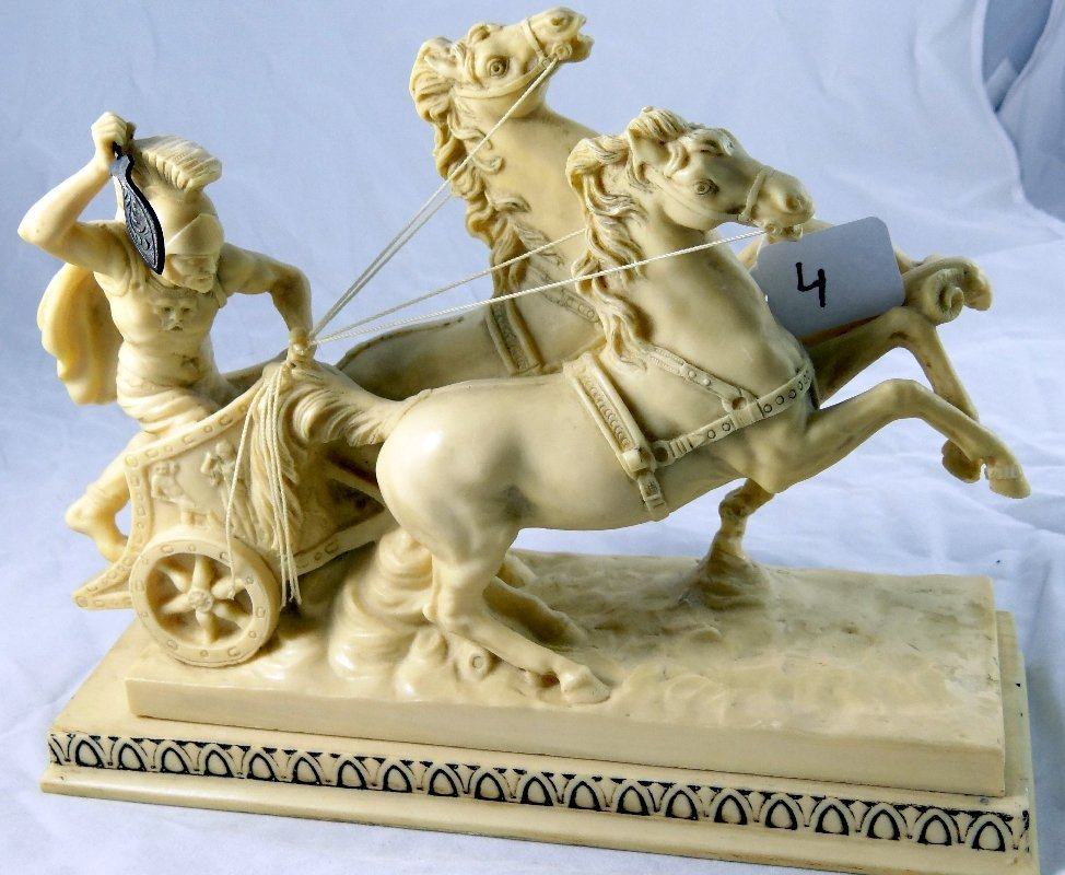 "4: A. Santini ""Medium Roman Chariot"" Sculpture *Signed*"