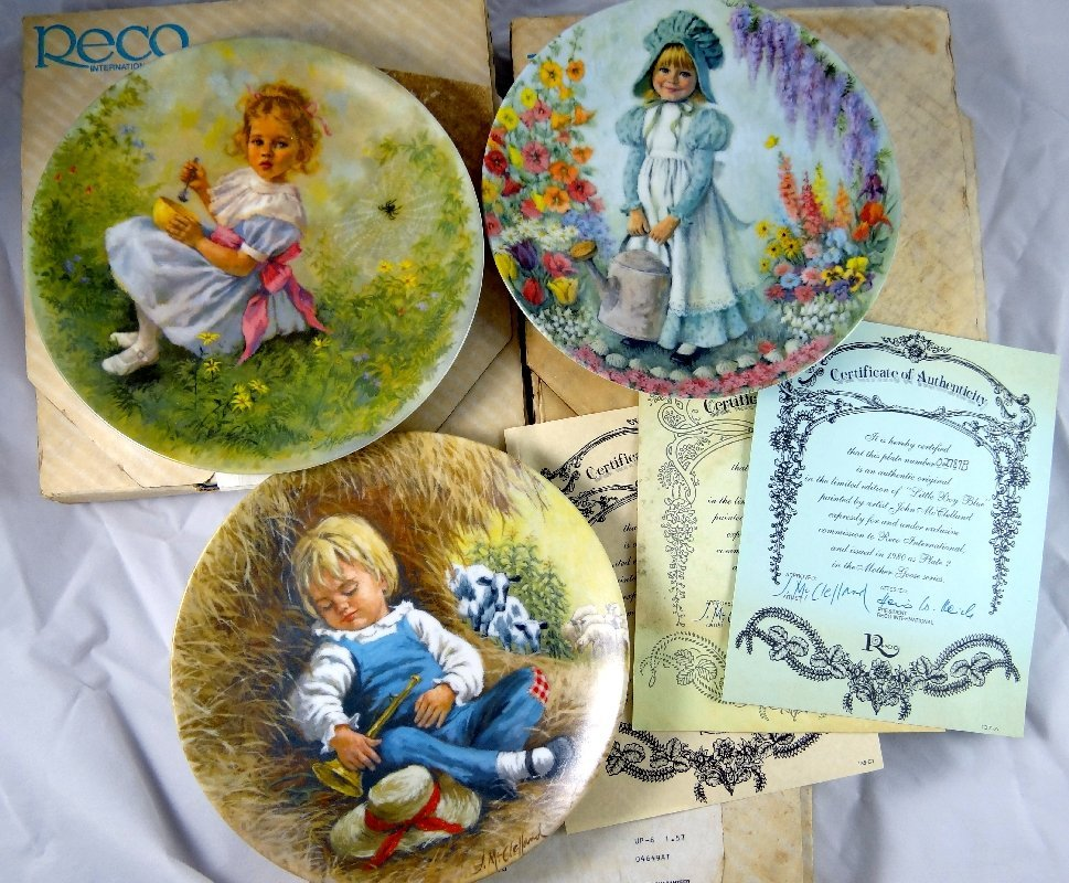 """8: (3) Vintage Reco """"Mother Goose"""" Limited Edt. Plates"""