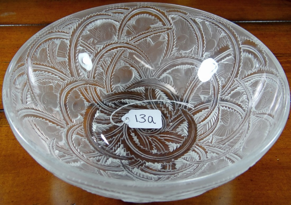 13A: Genuine Lalique France Pinsons Bowl *Signed*