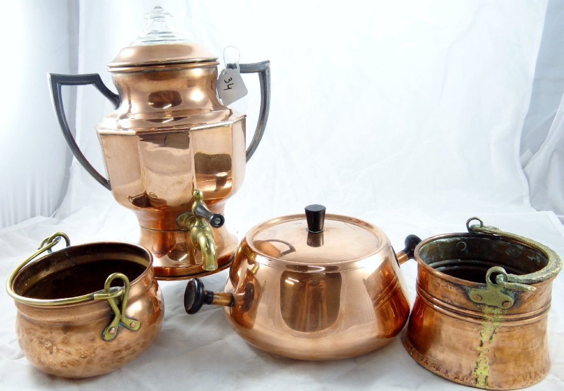 34: (4) French Inspired Copper Household Items