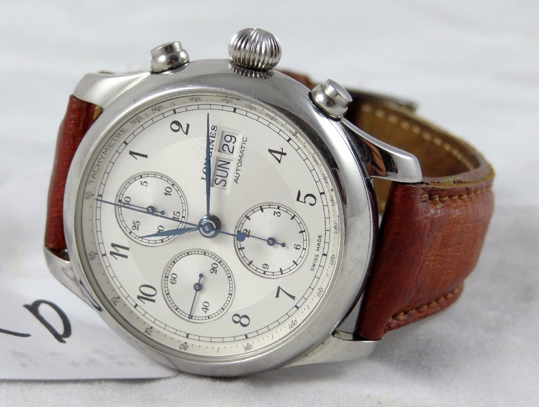 42D: Men's Longines Chronograph Watch W/COA
