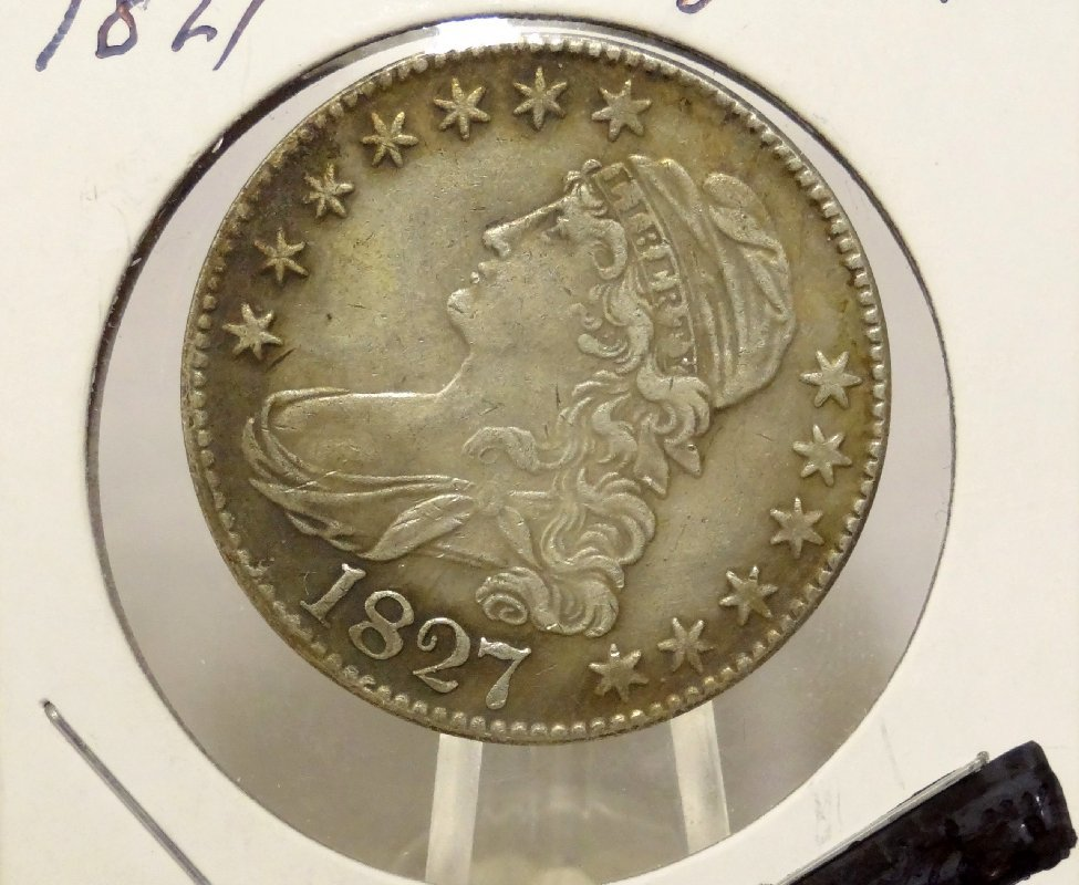 "1: 1827 ""Curl Base 2"" Capped Bust Half Dollar"