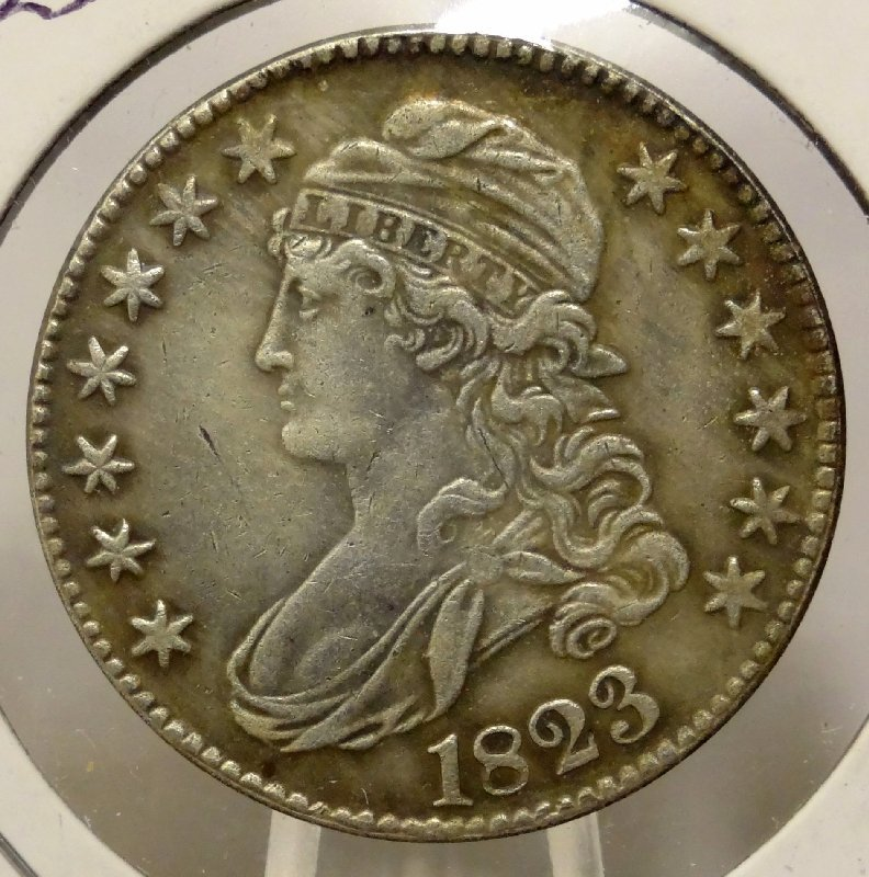 "3: 1823 ""Normal 3"" Capped Bust Half Dollar"