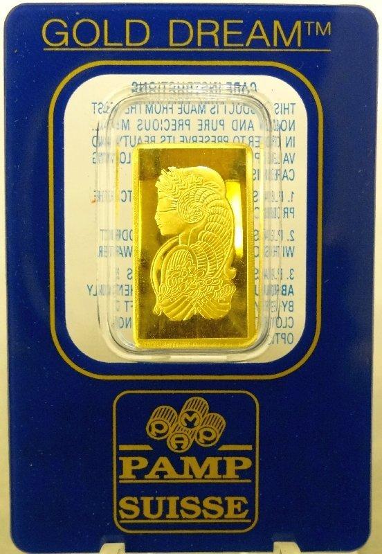 "24: 2.5 Gram .9999+ SOLID GOLD""Pamp"" Bar"