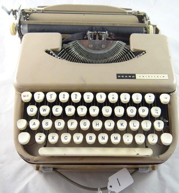 1: Vintage Sears Portable Typewriter W/Case