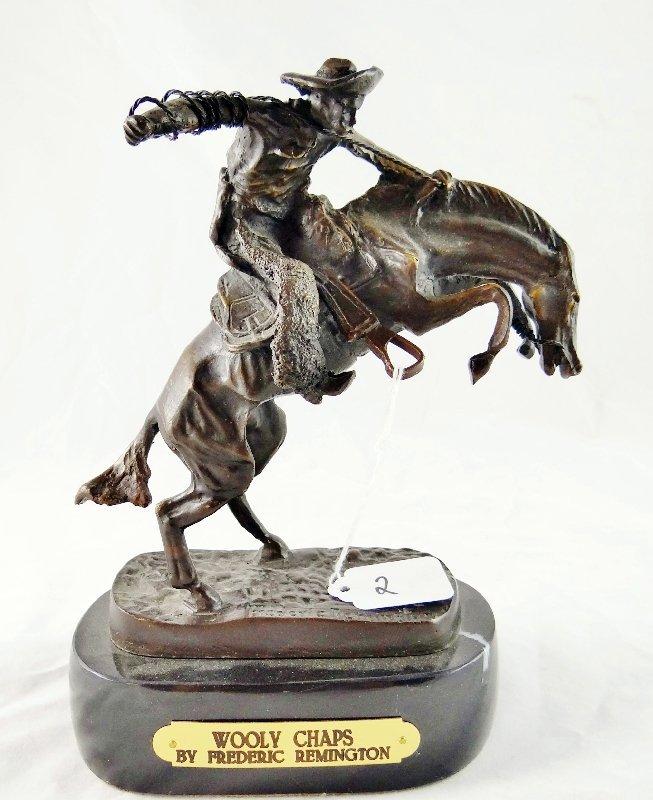 """2: Remington""""Wooly Chaps""""Bronze Sculpture"""