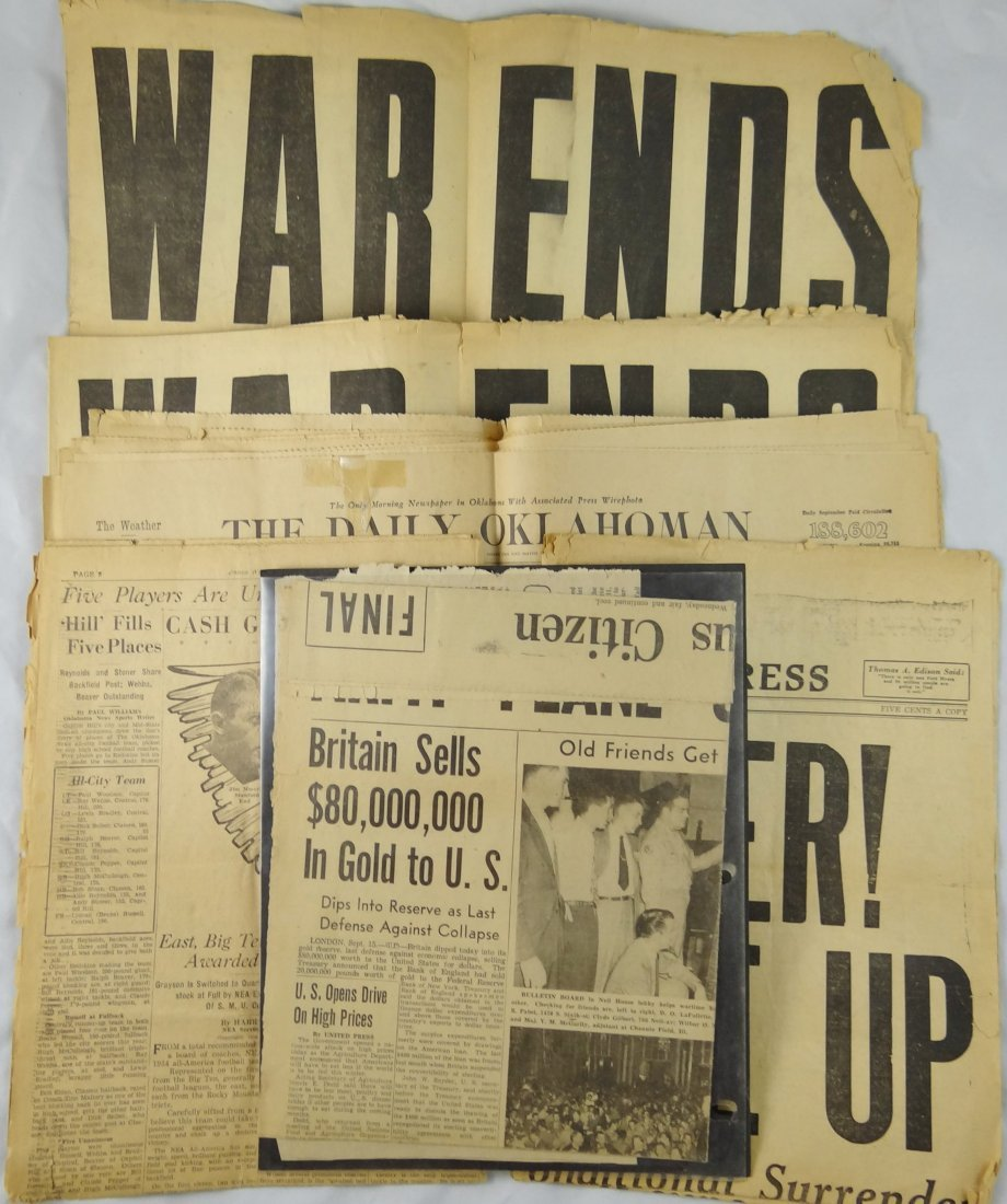 3: Vintage News Papers W/ Some From WWII