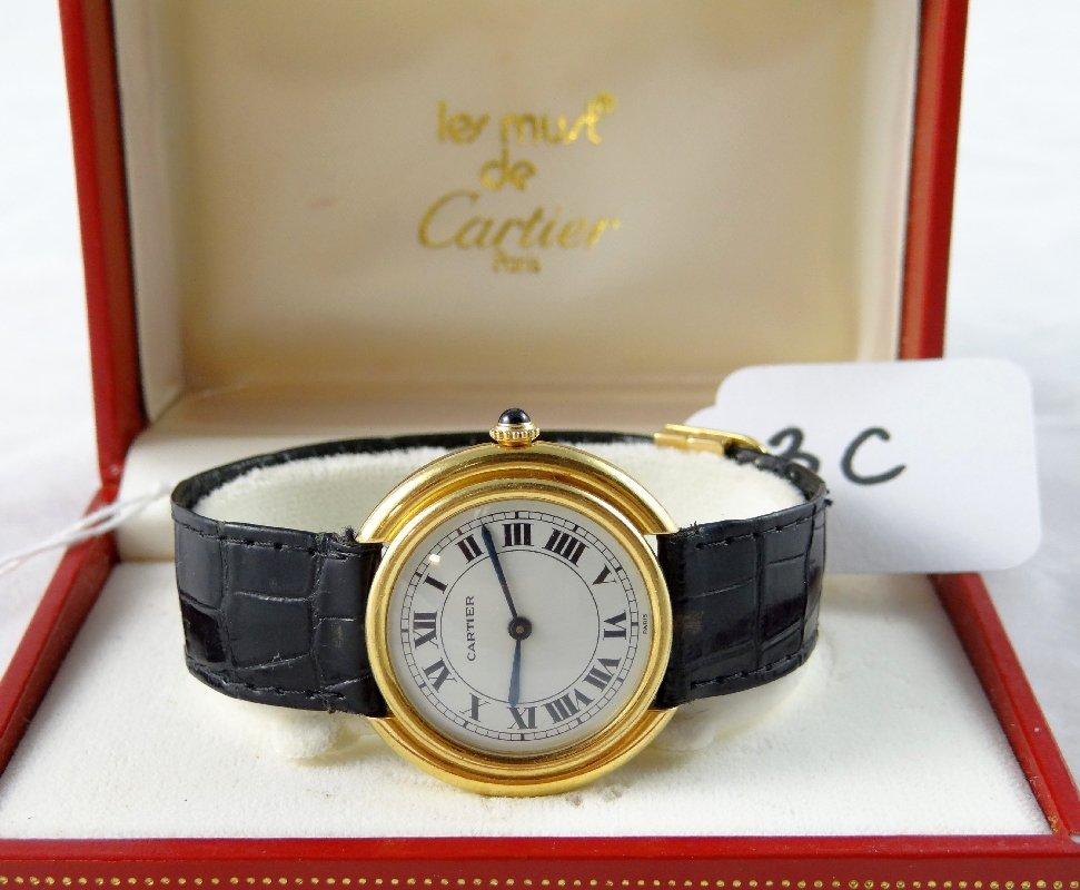 """3C: Cartier 18K Gold""""Automatique""""Watch W/COA"""