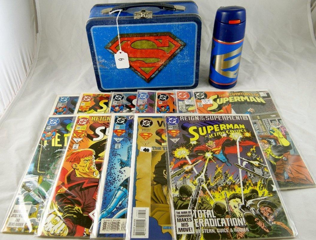 6: Superman Tin Lunchbox,Thermos & Comics
