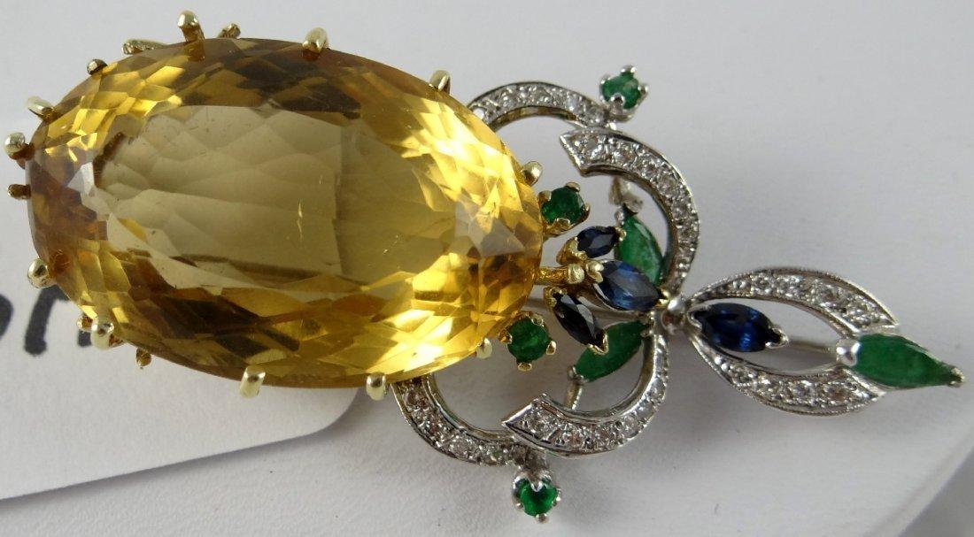8A: Citrine,Diamond,Emerald,Sapphire 14K Brooch