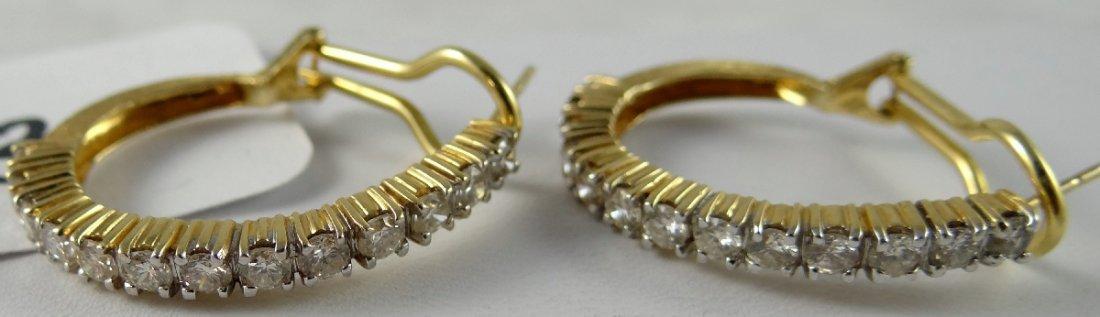 8B: 2.6CTTW Genuine Diamond 14K Hoop Earrings