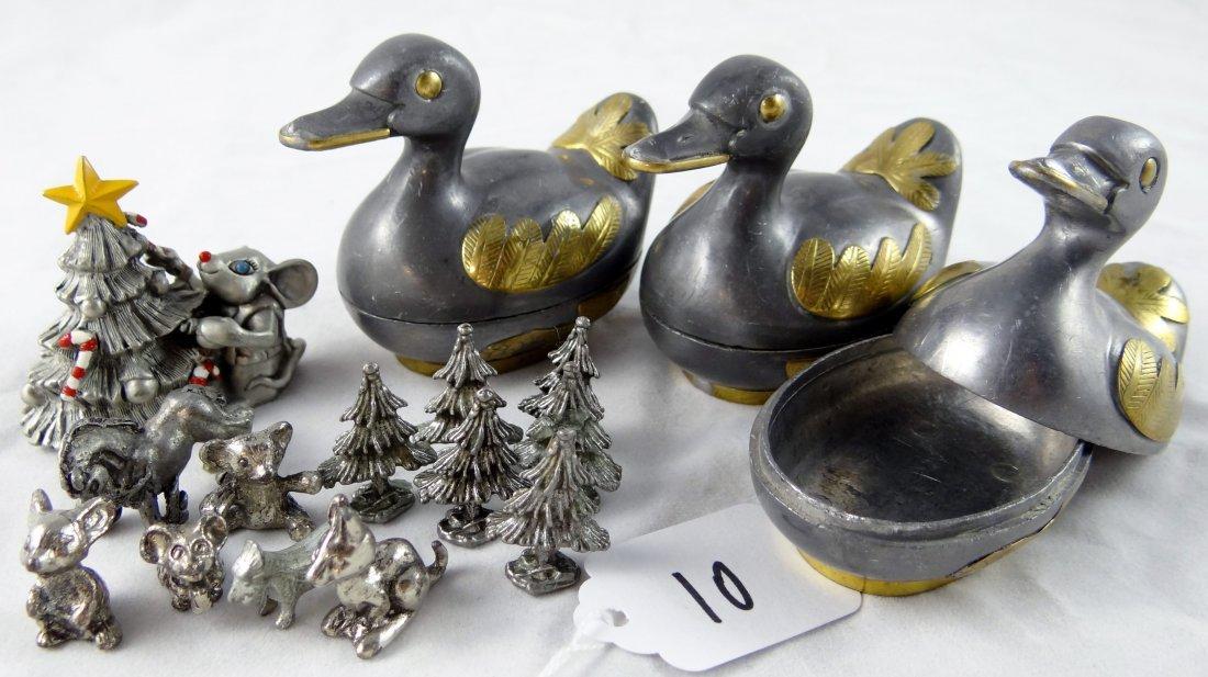 10: Vintage Pewter Figurines & Trinket Boxes
