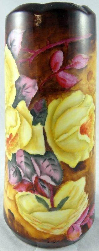 12: German 1920's Hand-Painted Flower Vase