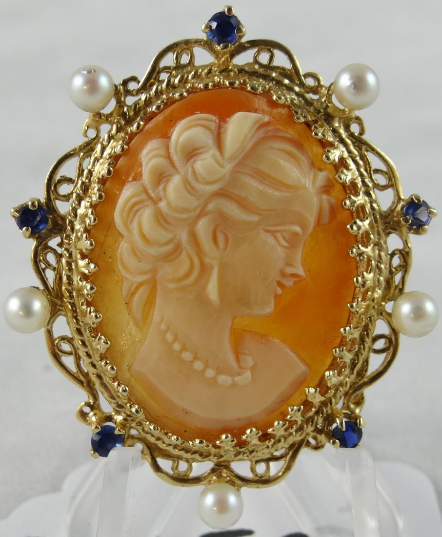 15C: 14K Gold Cameo W/Sapphires & Pearls