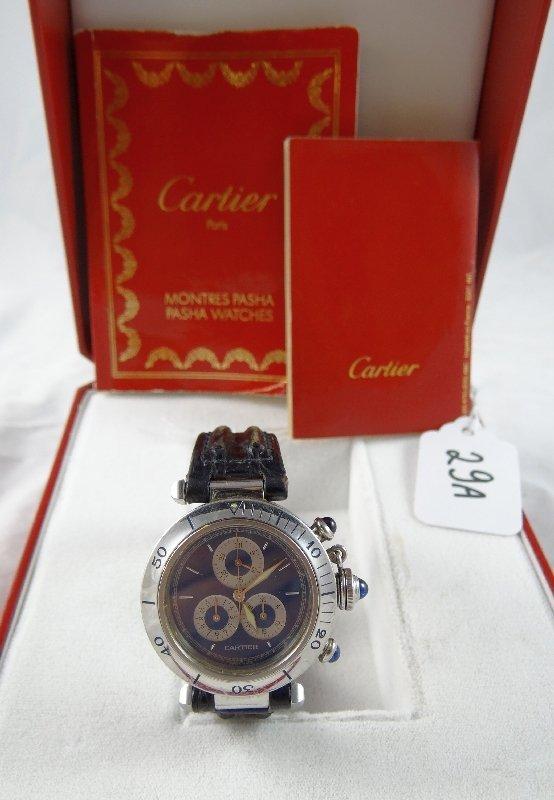 "29A: Cartier ""Pasha"" Chronograph 25J Watch"