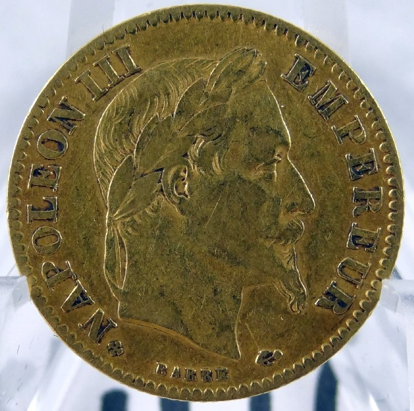 40C: 1867 Solid Gold 10 Francs Coin *RARE*