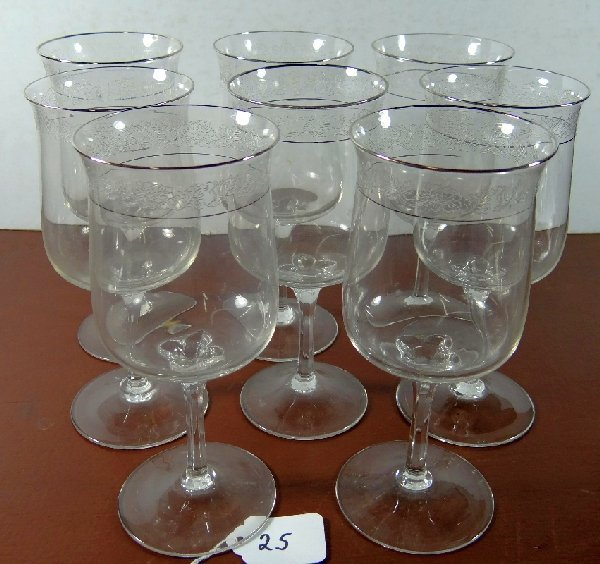 25: Lot of (8) Vintage Lenox Crystal Wine Glasses
