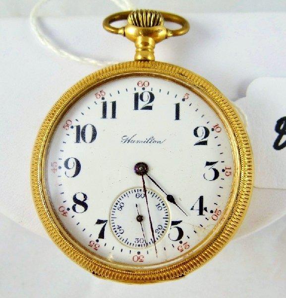 80A: 1909 Hamilton 17 Jewel 14K GF Pocket Watch