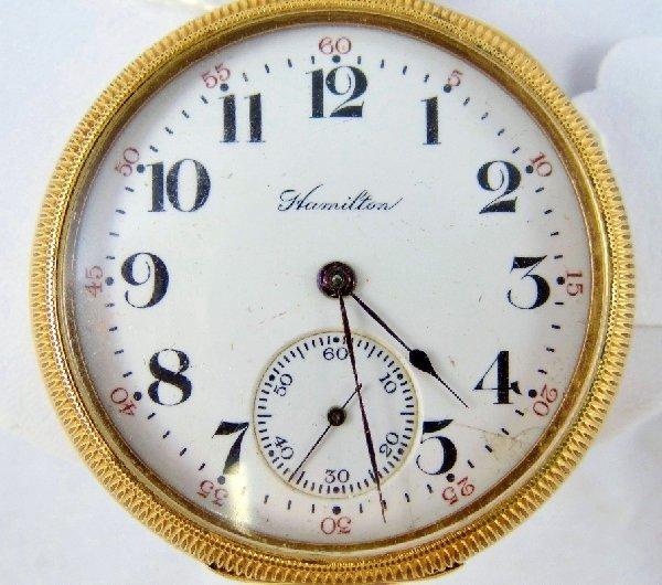 80A: 1909 Hamilton 17 Jewel 14K GF Pocket Watch - 2